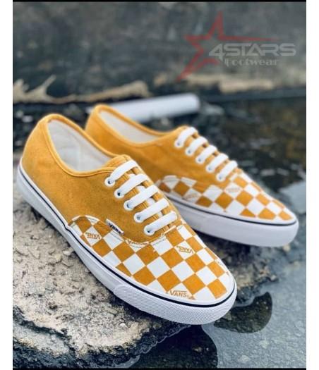 Checkered Classic Vans White and Yellow