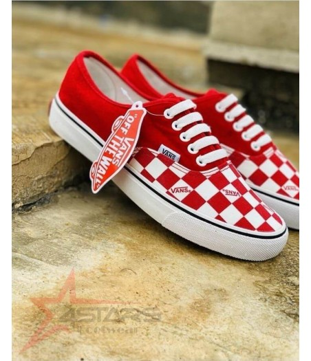 Checkered Classic Vans - Red