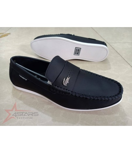 Lacoste Slip On Leather Loafers - Black