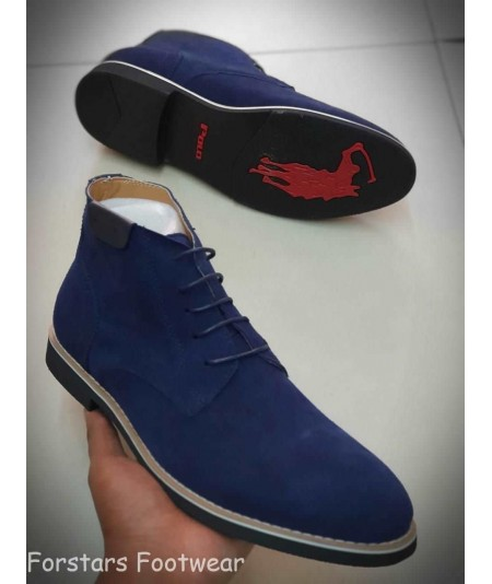 Polo Suede Leather Chelsea Boots - Blue
