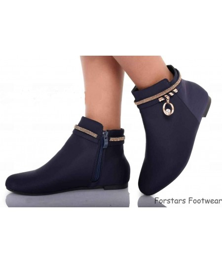 Ladies Zip Up Flat Ankle Boots